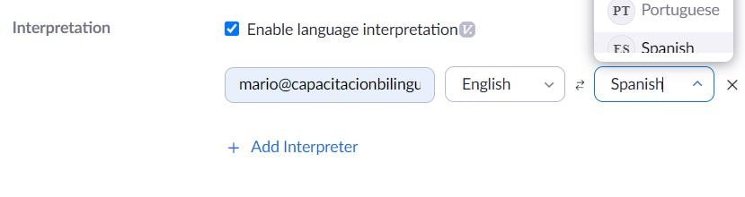 Enable language interpretation in zoom